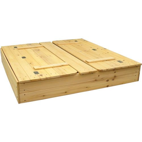 wood sandbox cover fold down view when folded up has. Black Bedroom Furniture Sets. Home Design Ideas