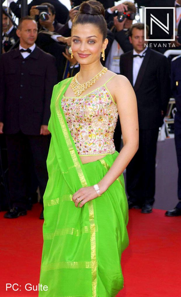 For #Cannes2003 Aishwarya Rai picked a #neon green Neeta Lulla sari