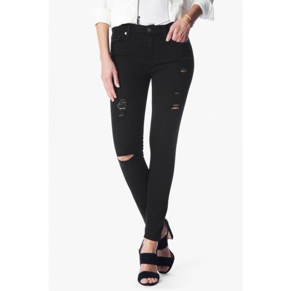 Bright shiny chrome zippers at the fly and under the pocket openings make this pant stand out and look edgy and cool. Against a stark black denim with tonal threads, this pant is ready to party. Remarkably slimming 8.75 oz denim that's light as air
