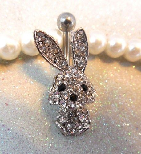 Belly ring, bellybutton ring with silver rhinestone bunny 14ga | YOUniqueDZigns - Jewelry on ArtFire