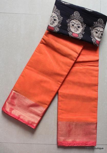 Silk cotton sarees with kalamkari blouse