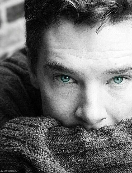 Benedict Cumberbatch <3  I love how the only color in this picture is his eyes. It makes you focus on them more.