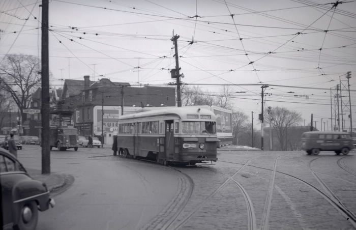 T.T.C., #4049, at Broadview Avenue, looking south across Danforth Avenue, 1954