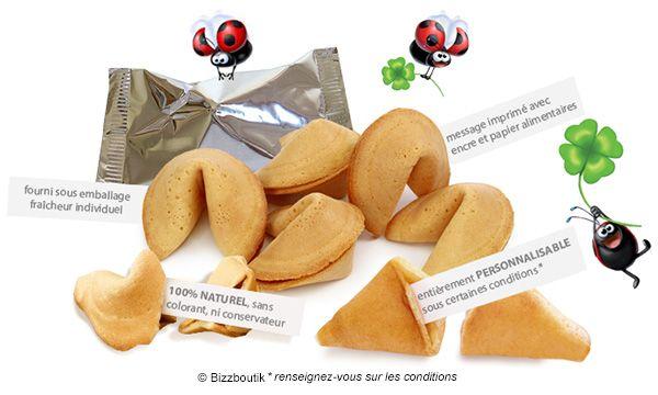 Fortune cookies - Biscuits Porte Bonheur Made in France - Vente en vrac individuel et en paquet à offrir - Personnalisation des messages