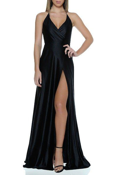 Black Chiffon High Slit Tie-neck Maxi Prom Dress with V-neck and Bare Back