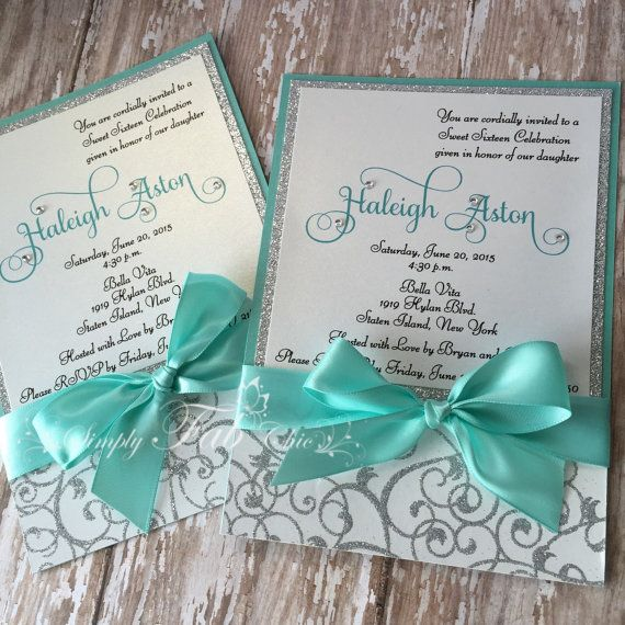 Sweet Sixteen Teal and Silver Glitter Custom Handmade Invitation