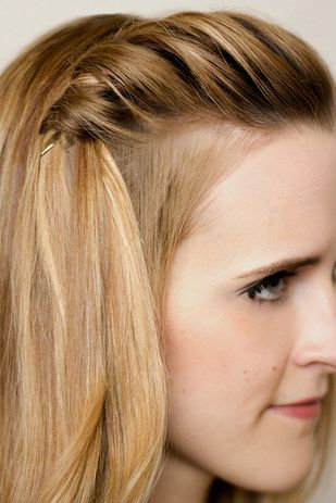 Go minimalist with an easy waterfall braid + a single pin: | 21 Bobby Pin Hairstyles You Can Do In Minutes