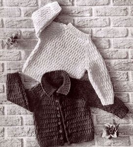 NEW! Bulky Sweater Set knit pattern from Baby Book Crocheted & Knitted, Star Book No. 153.