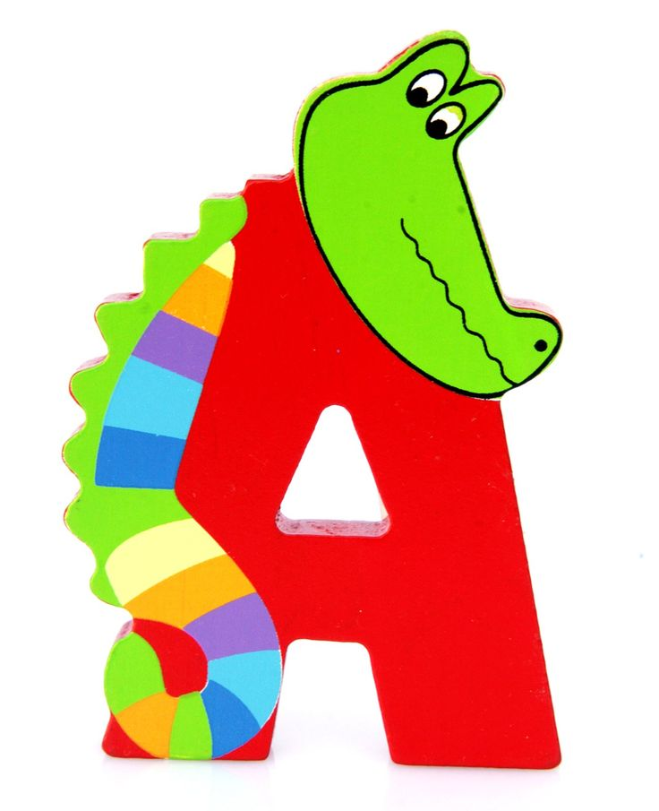 Simpatica lettera A in Legno con l'aspetto di un Coccodrillo, per decorare e rendere più bella la cameretta componendo nomi, frasi. Sono disponibili tutte le lettere dell'alfabeto  Può essere appoggiata su una mensola oppure si puo' fissare con colla o biadesivo o possono anche essere utilizzate per giocare.  Dimensioni cm 9 x 7 x 1  Materiale: Legno.   I colori possono cambiare in base alle disponibilita'