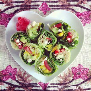 Lettuce sushi:  iceberg lettuce filled with my mango, enoki, tomato and avocado