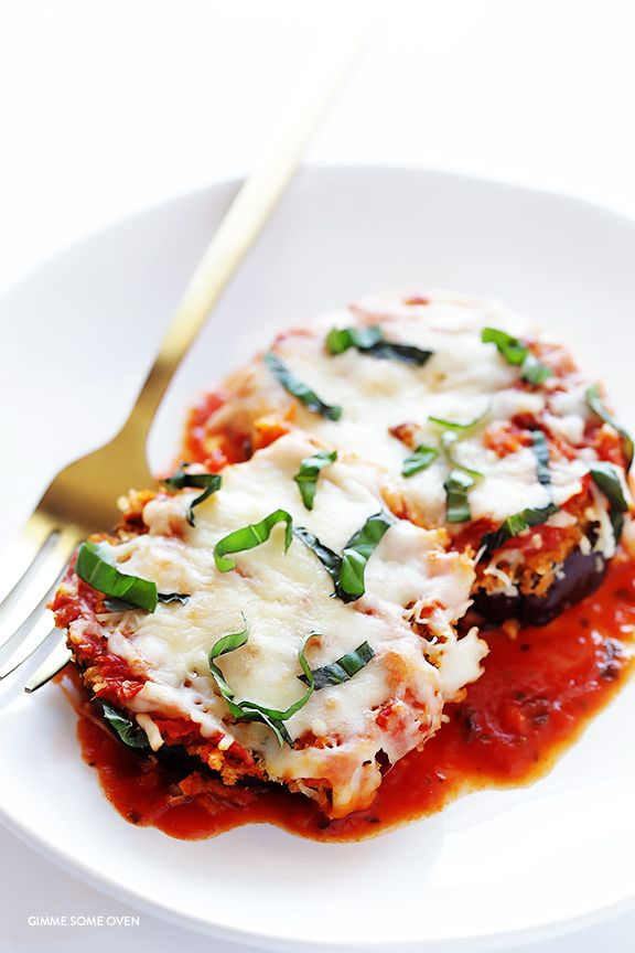 Baked Eggplant Parmesan by gimmesomeoven: No frying required for this crispy and absolutely delicious comfort food! #Comfort_Food #Eggplant_Parmesan #Healthy