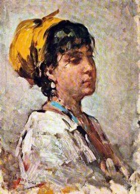 Nicolae Grigorescu (1838 - 1904) | Impressionism | Girl With Yellow Headscarf