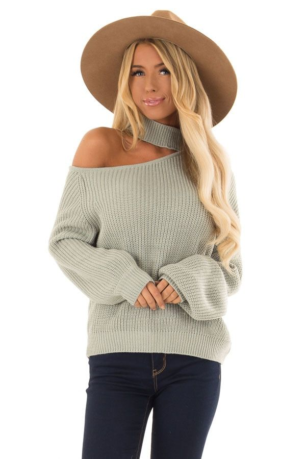 fac4c244722 Light Sage One Shoulder Ribbed Knit Long Sleeve Sweater front close ...