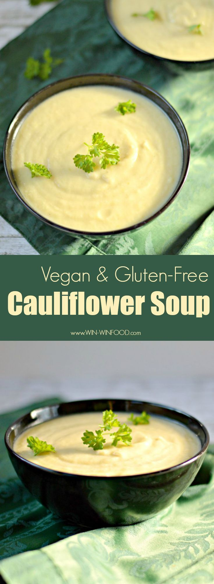 Vegan Cauliflower Soup -Extra rich and creamy, this quick & easy soup works as an amazing appetizer or even a main dish with some whole grain or gluten free bread. #healthy #vegan #glutenfree
