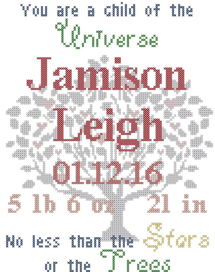Baby Birth Record Cross Stitch Pattern You are a Child of the Universe by oneofakindbabydesign on Etsy https://www.etsy.com/listing/448714300/baby-birth-record-cross-stitch-pattern