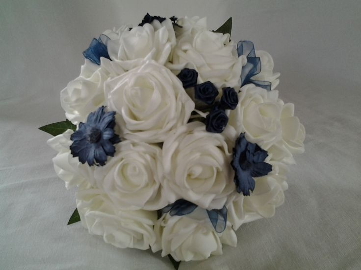 Blue and ivory poly foam bouquet