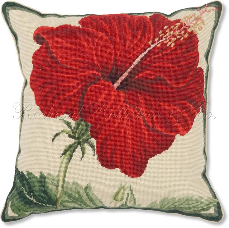 Red Hibiscus Needlepoint Pillow | Floral Needlepoint Pillows