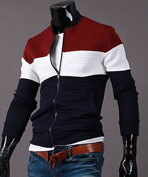 Stand Collar Color Block Splicing Rib Cuffs Long Sleeve Sports Jacket For Men