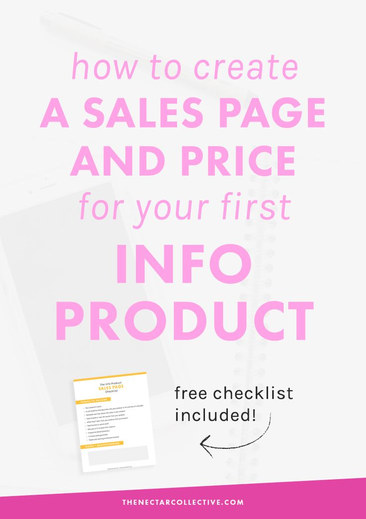 How to Create a Sales Page and Price Your First Info Product (#InfoProductBiz Series)   Are you a blogger or infopreneur who wants to launch her first digital product? This tutorial includes exactly what to put in your sales page AND how to price your product (with specific price examples!). Click through to read the whole post and download the free checklist!