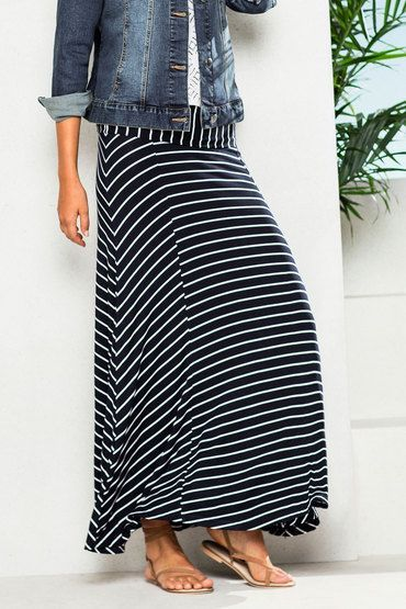 "MOST WORN ~ ""Roll Wasit Skirt"", Color: Blue Stripe, Fabric: Viscose Elastane, Brand: Capture, Store: EziBuy"