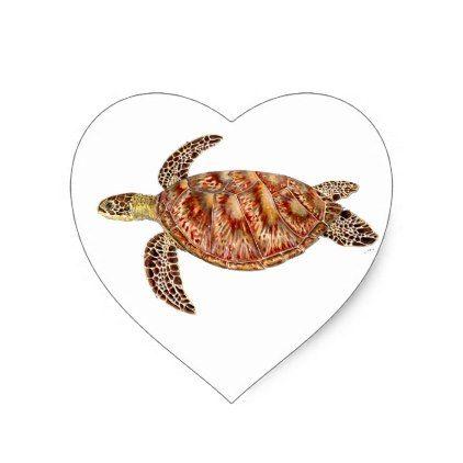 Green turtle - green Turtle Chelonia mydas Heart Sticker - craft supplies diy custom design supply special