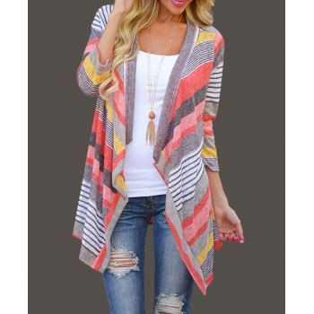 Fashionable Colorful Striped Cardigan For Women