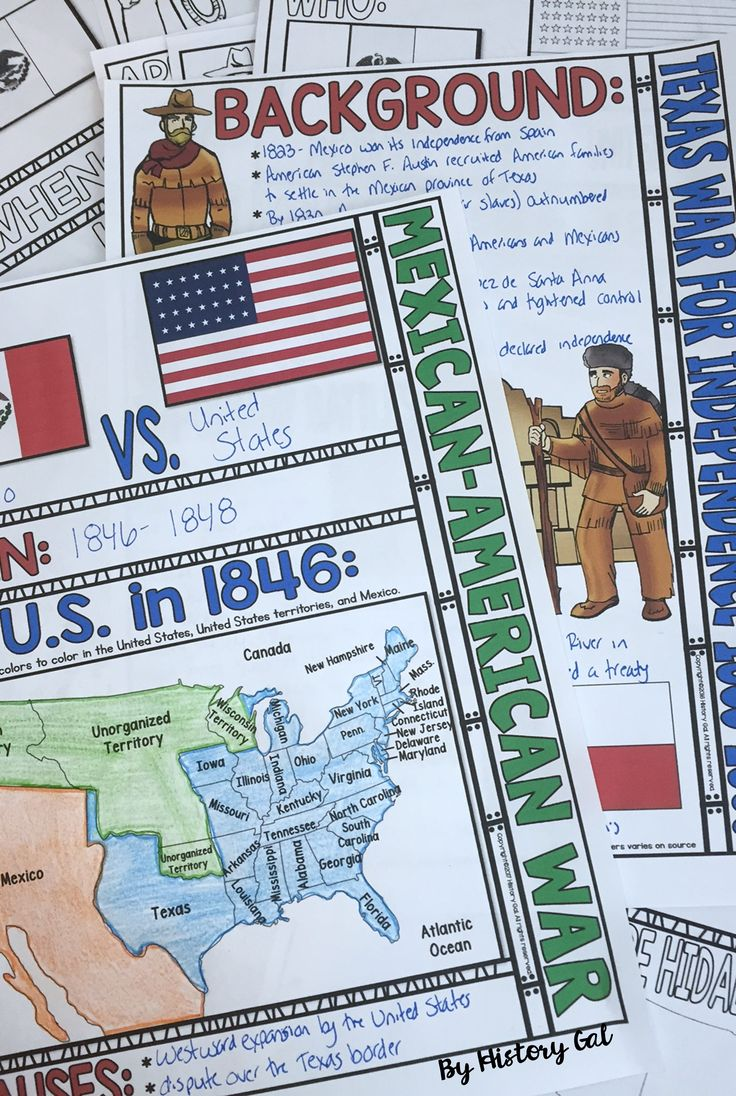 Students will color and doodle as they take notes to learn about the Texas War for Independence and the Mexican-American War. Use this with your 6th, 7th, 8th, 9th, 10th, and 11th grade classroom or home school students. You get teacher directions, doodle notes, and a PowerPoint file. Great for your US History or Social Studies lessons. {sixth, seventh, eighth, ninth, tenth, or eleventh graders, high school, middle school}