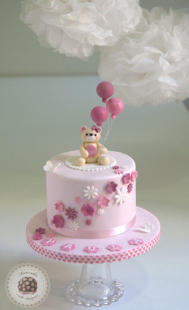 Teddy bear, christening, cake, tartas barcelona, tartas decoradas, osito, balloons, globos, bautizo, fondant, chocolate, mericakes, tartas decoradas, tartas bautizo niña, pastel, torta, flores de azúcar, rosa, pink, rose, mariposa, purpurina, butterfly, cute, cuqui, mono, pompones, barcelona, pastelería creativa.