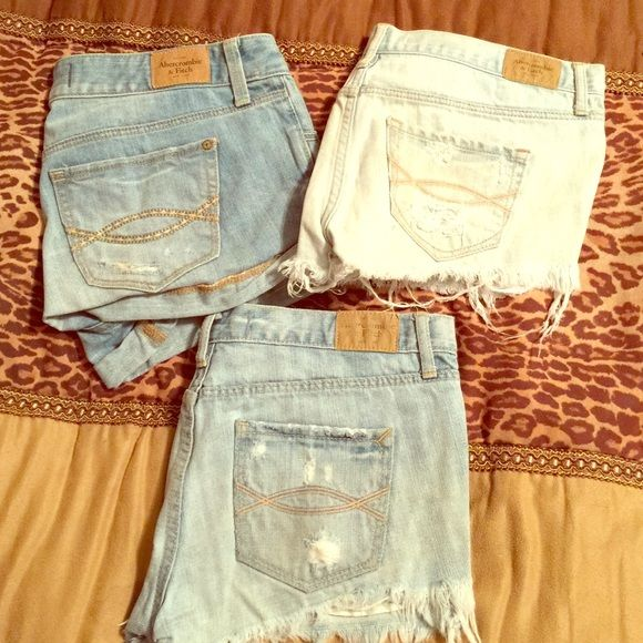 Abercrombie jean shorts summer clearance! 3 pairs of Abercrombie jean shorts! Sizes 0, 3, and 2. All distressed light wash denim. Pre loved. Bundle all 3 for 45 or ask me about individual pricing! Abercrombie & Fitch Shorts Jean Shorts