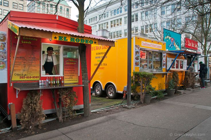 Food carts in downtown Portland, Oregon at 10th and Alder Streets.