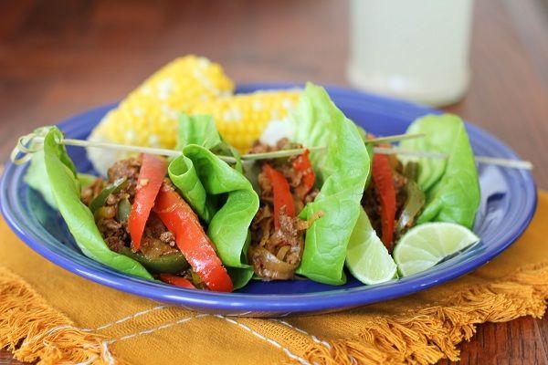 Turkey Fajita Lettuce Wraps - a quick stir-fry for Phase 2 (minus the oil and optional cheese etc.)
