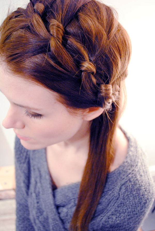 """Knotted milkmaid braid"" style: Knot Headbands, Diy Hairstyles, Knot Milkmaid, Milkmaid Braids Tutorials, Crowns, Knot Braids, Ties, Hair Style, Bobby Pin"
