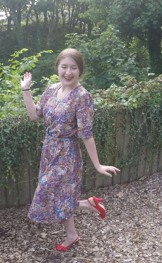 vintage 80's floral print dress