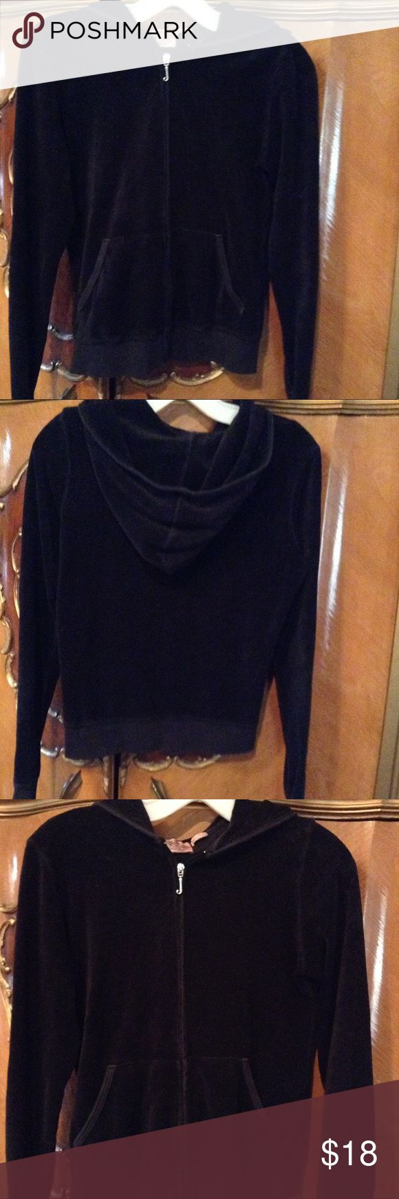 """Adorable Juicy Couture Black Velour Jacket Beautiful black velour jacket with front pockets, zip front, long sleeves, hooded, silver """"J"""" zipper in front, excellent condition. Juicy Couture Jackets & Coats"""
