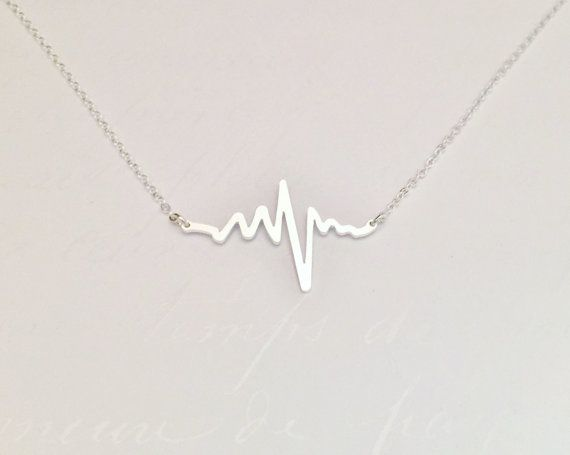 Beautiful Heart Beat Electrocardiogram EKG Rhythm Necklace. This is a wonderful gift for anyone in the medical field or could be a sentimental gift