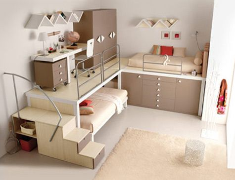 I love this room!!! I like how it has a little loft with a desk and then a bed underneath!!
