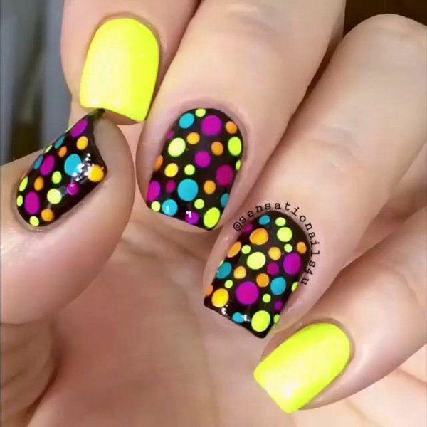 colorful dot nail - 30 Adorable Polka Dots Nail Designs  <3 !
