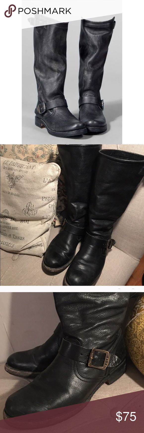 Frye Veronica Slouch Awesome boots! They are in used condition but still have lots of life, these boots last forever. There is scuffing and part of the inner boot lining has come up, shown in pictures. Doesn't bother me and I'm sort of picky about that type of thing. Frye Shoes