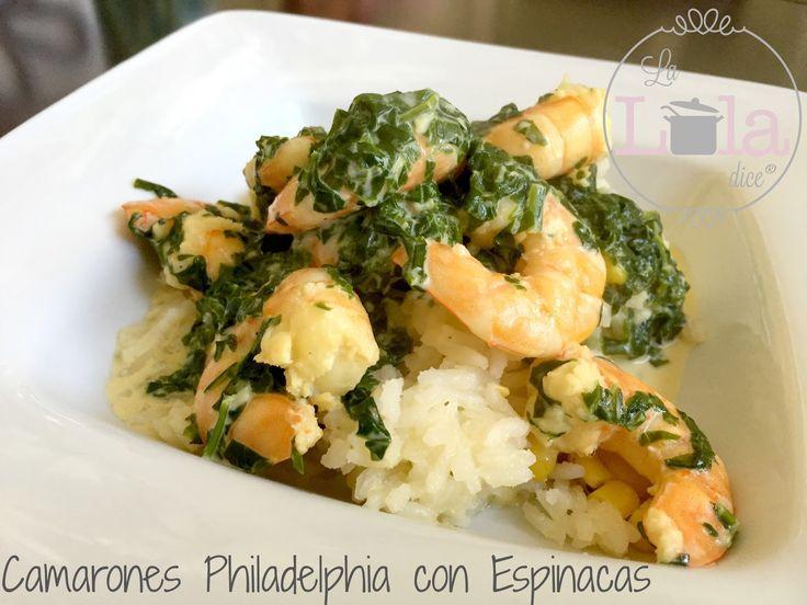 Camarones Philadelphia con Espinacas, camarones queso crema espinacas