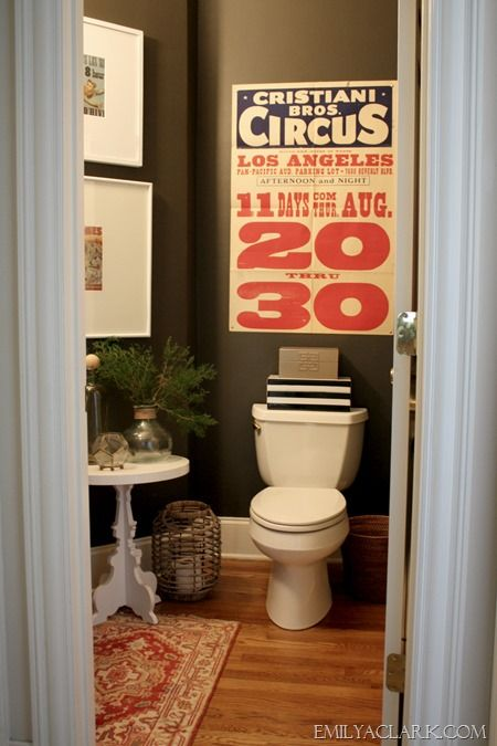 circus art in our powder room