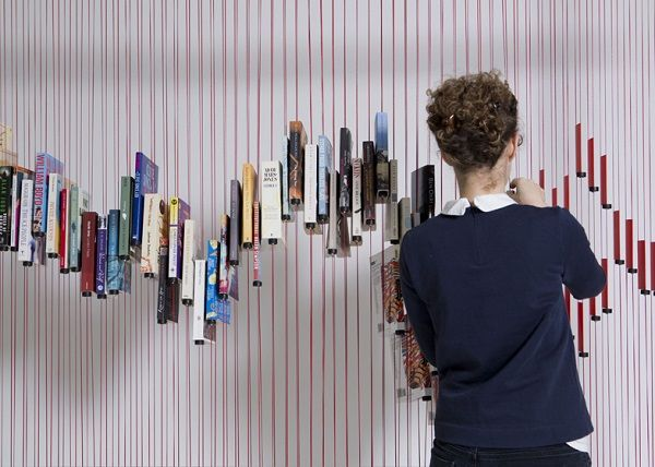 A Bookcase That Suspends Books On Threads - DesignTAXI.com