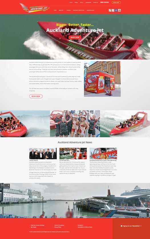 New Auckland Adventure Jet website, Auckland Adventure Jet is an adventure tourism activity for thrill seekers to see Auckland City a different way, by jet boat!