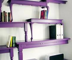 repurpose old tables to shelving! Saw this idea on the Nate Burkus show - looks so cool!