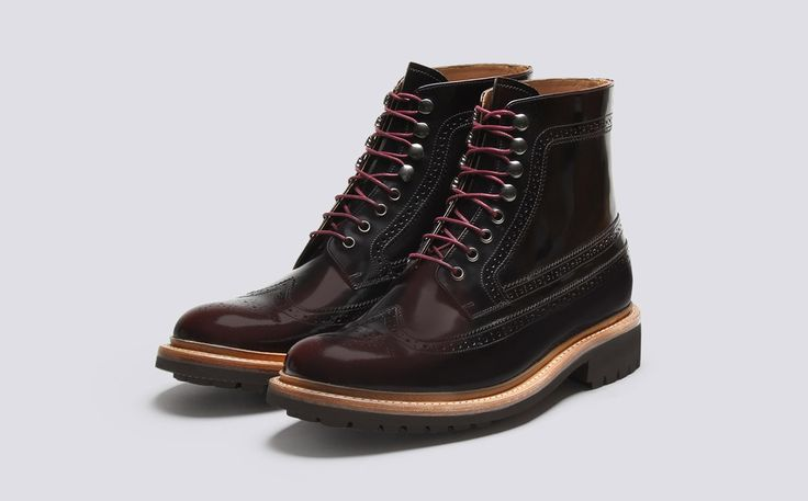 Mens Brogue in Burgundy Hi Shine Leather with a Commando Sole | Sebastian | Grenson Shoes - Three Quarter View