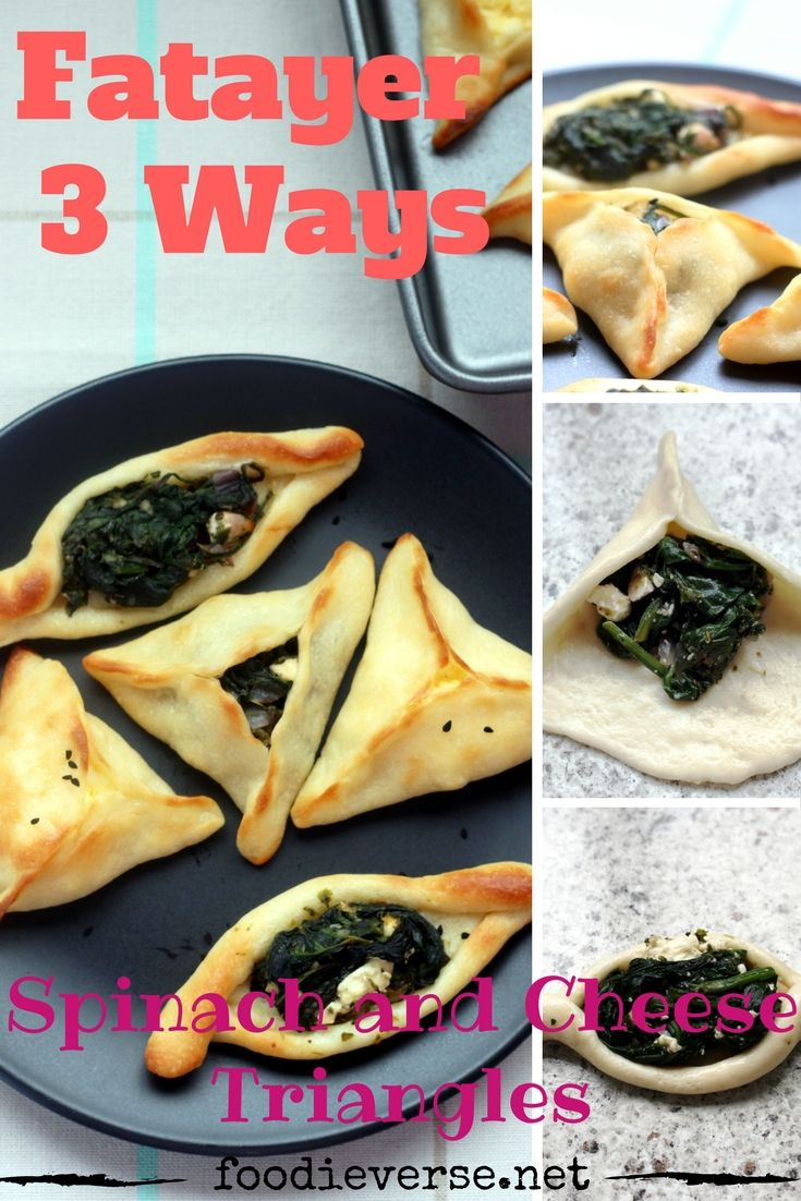 Fatayer are mini Arabian pies, filled with spinach, cheese or meat. Learn how to make them three ways, as triangles and boats. These versions are vegetarian. Learn Fatayer Sabanekh (Spinach), Fatayer Jebneh (Cheese) and Fatayer Sabanekh wa Jebneh (Spinach and Cheese). My