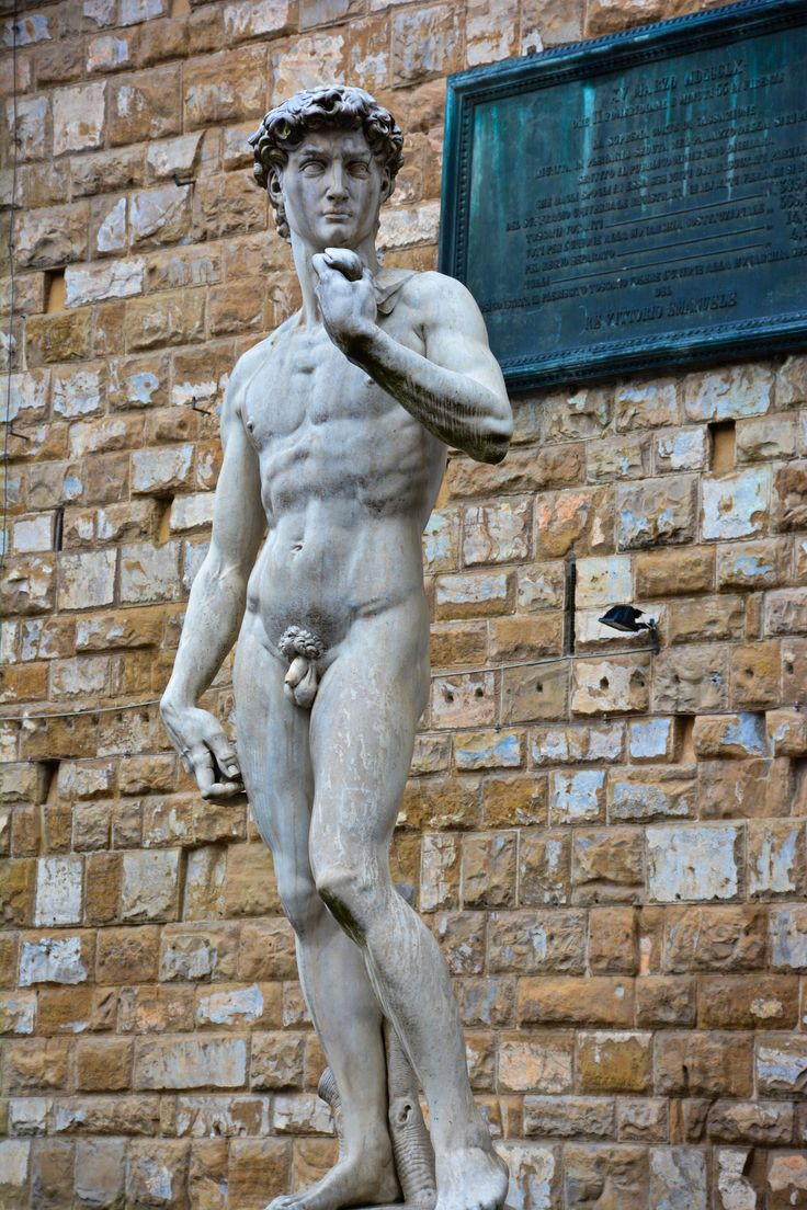 Florence. A reproduction of Michelangelo's statue David—The original is housed in the Accademia di Belle Arti Firenze - located on the Piazza della Signoria.