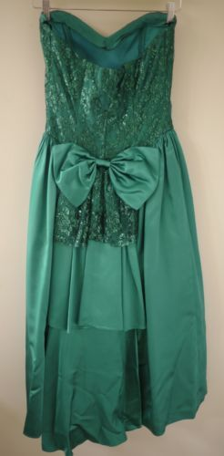 Vtg-80s-Jessica-McClintock-Gunne-Sax-Mermaid-Sweetheart-Shiny-Lace-Prom-Dress