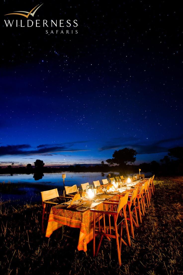 Jao Camp - Al Fresco dining at its best at Jao. #Safari #Africa #Botswana #WildernessSafaris