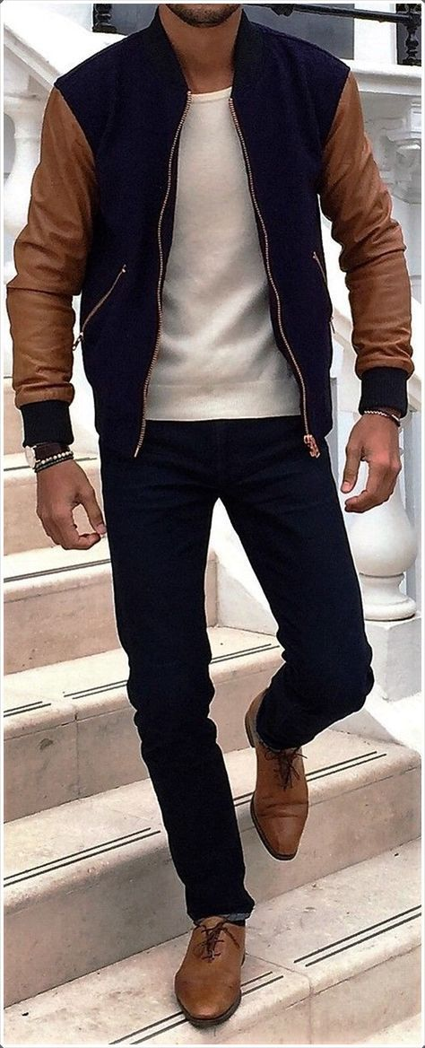 Instead of choosing an #outfit, you can just put on your #baseball #jacket! #MensFashionStyle