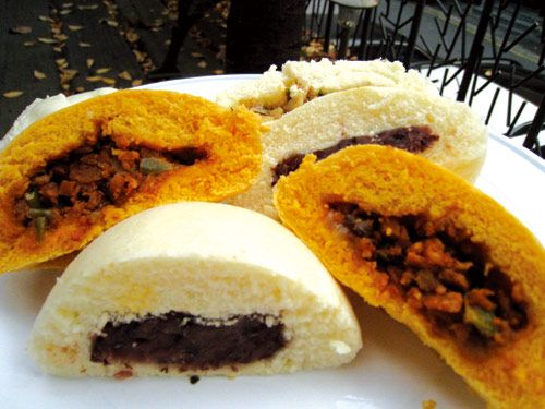 Hoppang - steamed buns with red bean filling, and meat ...